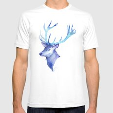Blue Antlers MEDIUM Mens Fitted Tee White