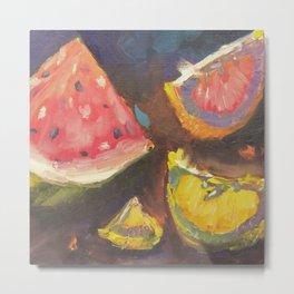 Backlit Fruit Blush Watermelon Grapefruit and Lemon Metal Print