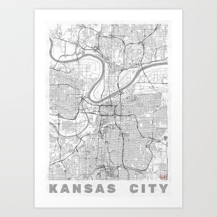 Kansas City Map Line Art Print by hubertroguski | Society6