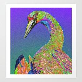 Windowpane Crane Art Print