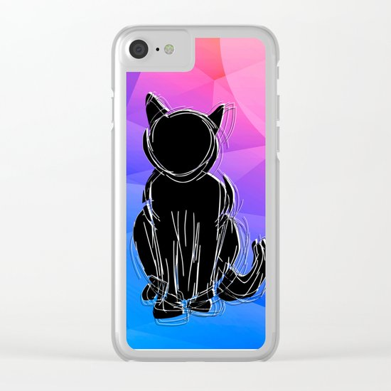 Black Cat - geometric background Clear iPhone Case