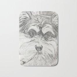 """Pencil Sketch """"Sophie"""" our Puppy Bath Mat"""