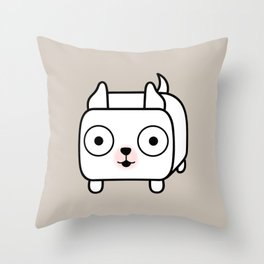 Pitbull Loaf - White Pit Bull with Cropped Ears Throw Pillow