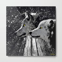 WOLF OF THE NIGHT FOREST Metal Print