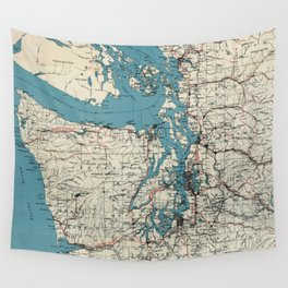 Vintage Map of The Puget Sound (1919) Wall Tapestry