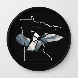 Minnesota - Common Loon (Black) Wall Clock