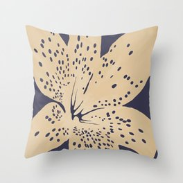 Soybean lily on eclipse blue Throw Pillow