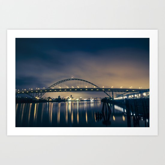 Fremont Bridge at Night Art Print