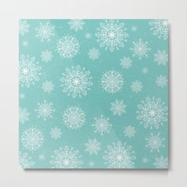 Assorted Snowflakes On Turquoise Backround Metal Print