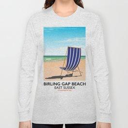 Birling Gap Beach, East Sussex vintage train poster Long Sleeve T-shirt