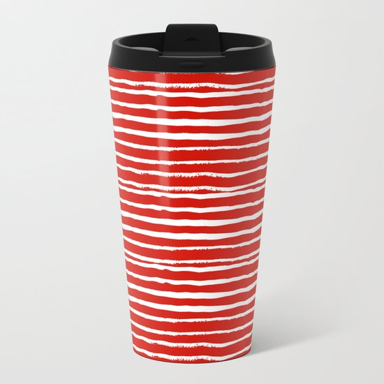 Minimal Christmas red and white holiday pattern stripes candy cane stripe pattern Metal Travel Mug