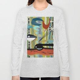 Mid Century Modern Fish Art Long Sleeve T-shirt