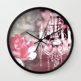 Sparkly Chandelier & Flowers Shades of Pink Wall Clock