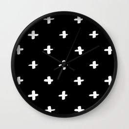 Freehand Crosses Black Wall Clock