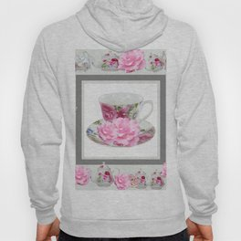 ABSTRACTEd PINK ROSE TEA TIME PORCELAIN ART Hoody