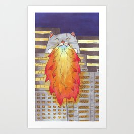 Giant Cat Burning A City Art Print