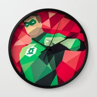 dc comics Wall Clocks featuring DC Comics Green Lantern by Eric Dufresne