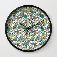 pug Wall Clocks featuring Pug pattern by gemma correll