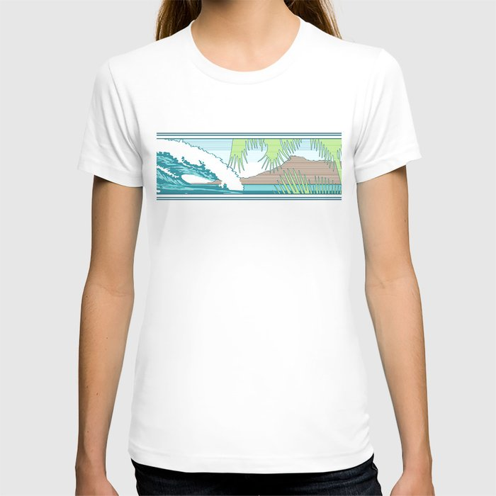Ala Moana Diamond Head Hawaiian Surf Sign T-shirt