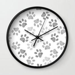 Black and grey paw print pattern Wall Clock