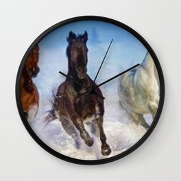 Woodstock, Connecticut - The Wild of the Winter Horses, A Portrait Wall Clock