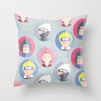 naruto Throw Pillows featuring Naruto icons by Maha Akl