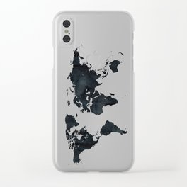 World Map in Black and White Ink on Paper Clear iPhone Case