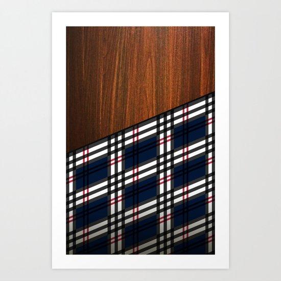 Wooden Scottish Tartan Art Print
