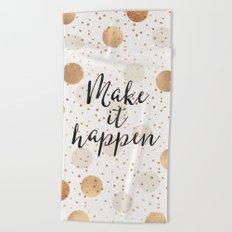 Make It Happen - Gold Dots Beach Towel