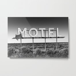 Motel Nowhere in Black and White Metal Print