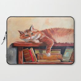 Red cat on a bookshelf Laptop Sleeve