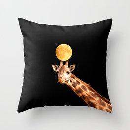 Giraffe And The Moon On A Black Background #decor #society6 #buyart Throw Pillow