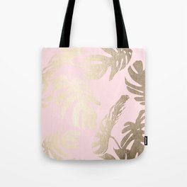 Simply Tropical Palm Leaves White Gold Sands on Flamingo Pink Tote Bag