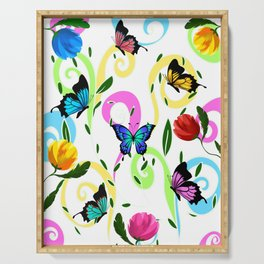 Butterfly,floral,colourful patter Serving Tray