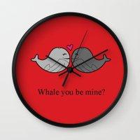 valentine Wall Clocks featuring Valentine by Rachel Goodson Quinn