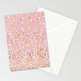 Floating Confetti - Pink Blush and Gold Stationery Cards