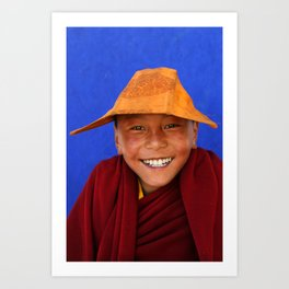 Buddhist monk in Tagong, Sichuan province, China Art Print
