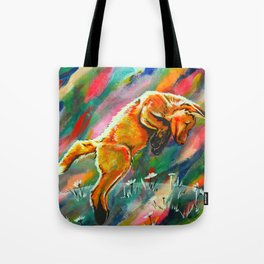 Frisky Fox in Flowers Tote Bag