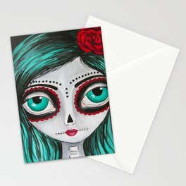 Muertos Girl in Green Stationery Cards