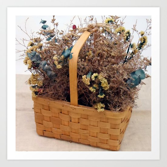 Mothers Basket of Lovely Flowers Art Print