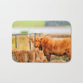 Highland cow watercolor painting #8 Bath Mat