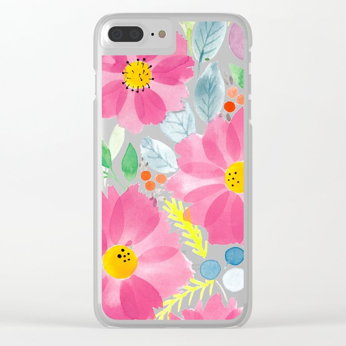 Watercolor Roses Clear iPhone Case