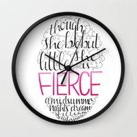 fierce Wall Clocks featuring FIERCE by Lex Bleile