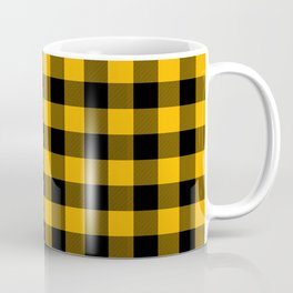Jumbo Goldenrod Yellow and Black Rustic Cowboy Cabin Buffalo Check Coffee Mug