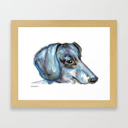 Dachshund with blues and silver Framed Art Print