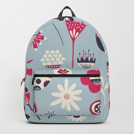 Scandi Birds and Flowers Blue Backpack