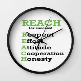 Reach for success Inspirational Motivating Quote Wall Clock