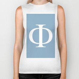Greek letter Phi sign on placid blue background Biker Tank