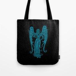 Blue Virgo Zodiac Sign in the Stars Tote Bag