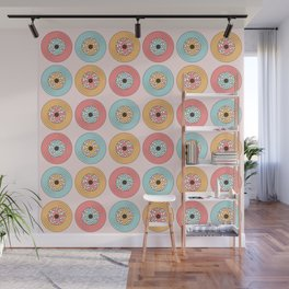 Retro Vinyl Record Pattern, Vintage Music Vinyls Collection With Daisies in Pastel Pink, Mint and Yellow Colors Wall Mural